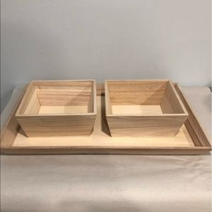 Other - NWOT pine wood bowl set with trey
